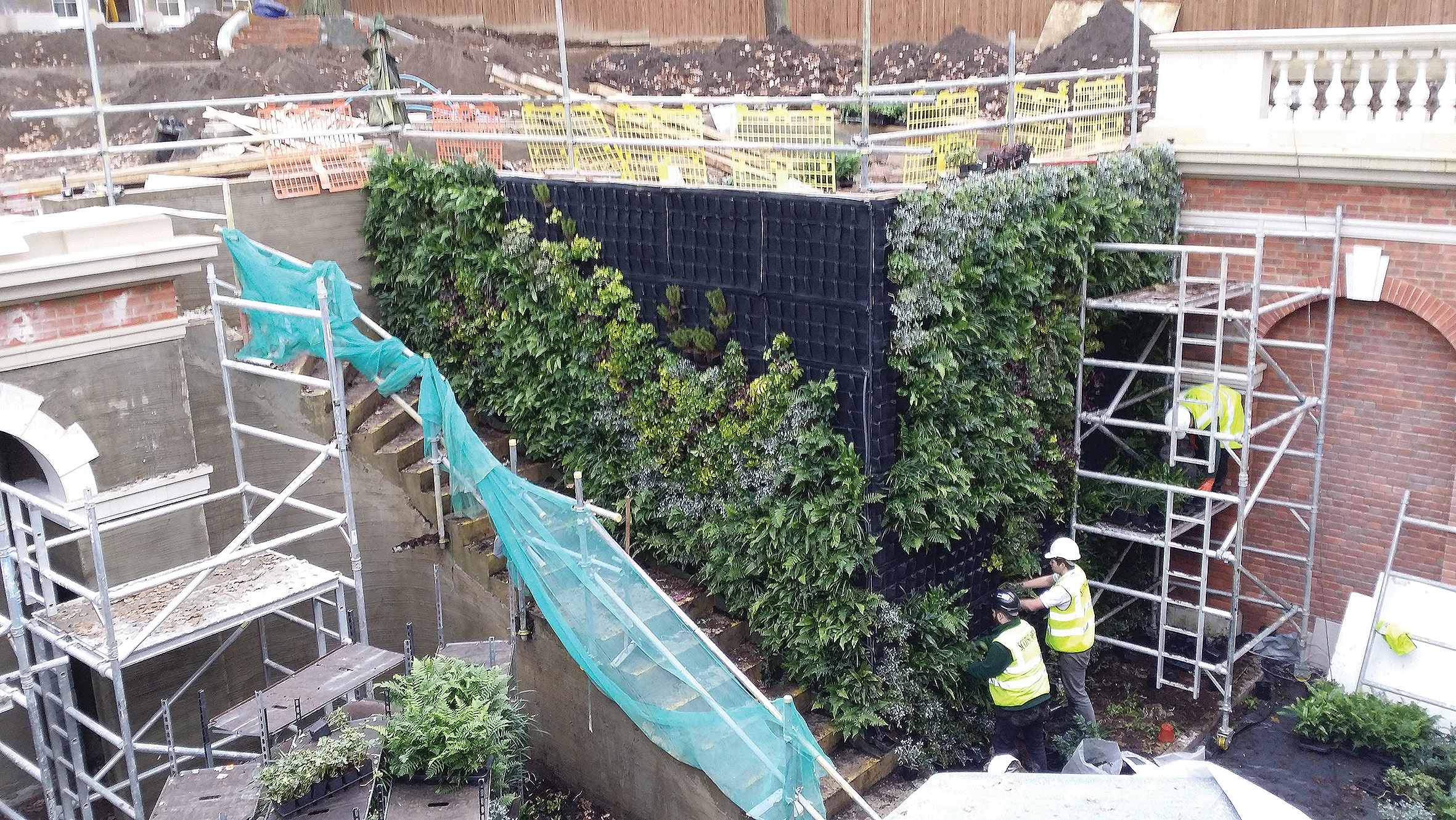 Living Wall constructed with FYTOTEXTILE for plant health