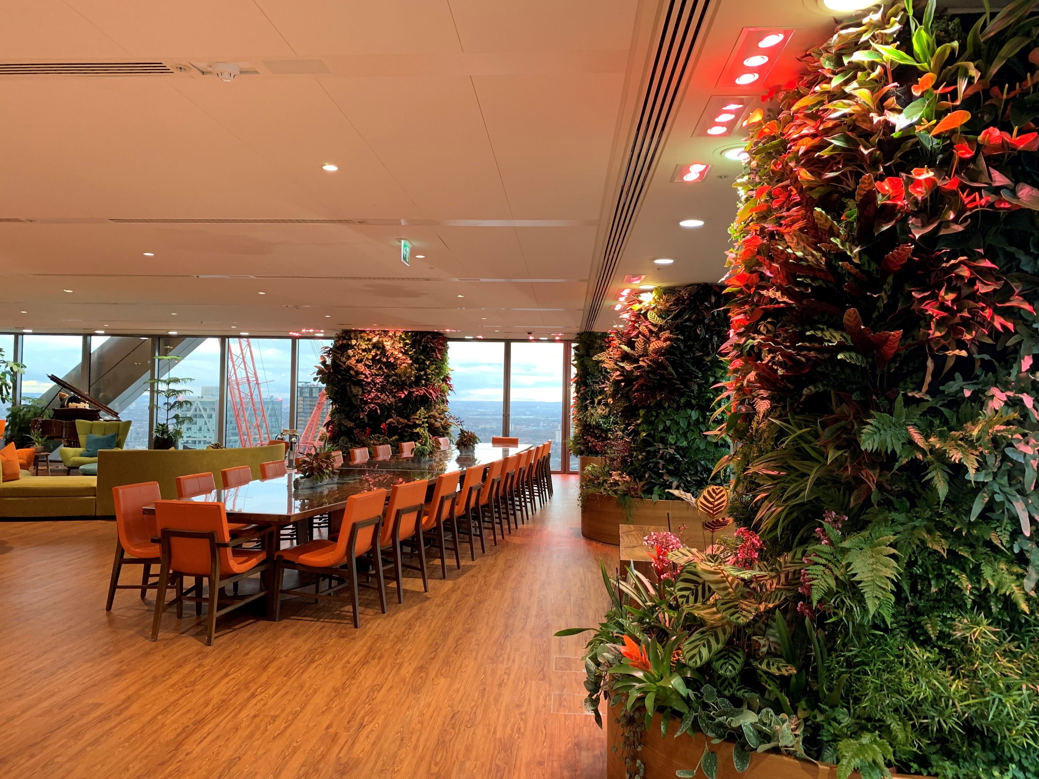 Salesforce boardroom planting with living walls